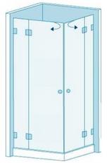 Угловое душевое ограждение из стекла с двумя дверцами Вариант 2-22