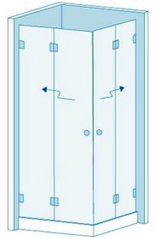 Душевая перегородка из стекла с дверью гармошкой Вариант 2-42