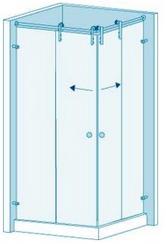 Угловая душевая перегородка из стекла с раздвижной дверью Вариант 2-61