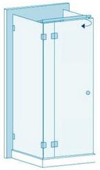 П-образное душевое ограждение из стекла с распашной дверью Вариант 3-01