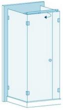 П-образное душевое ограждение из стекла с распашной дверью Вариант 3-02