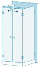 П-образная душевая перегородка из стекла с двумя дверями Вариант 3-21