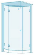Трапециевидное душевое ограждение с распашной дверью Вариант 5-01
