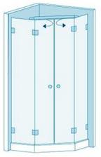 Трапециевидная душевая перегородка с двумя дверями Вариант 5-21