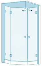 Трапециевидная душевая перегородка с двумя дверями Вариант 5-23