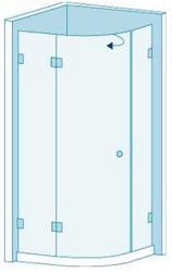Полукруглое душевое ограждение из стекла с распашной дверью Вариант 6-01