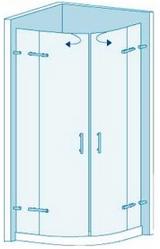 Полукруглая душевая перегородка из стекла с двумя раздвижными дверями Вариант 6-22