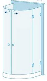 Полукруглое душевое ограждение из стекла с двумя дверями Вариант 6-31