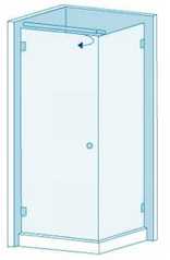 Угловое душевое ограждение из стекла с распашной дверью Вариант 2-02