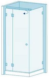 Угловая душевая перегородка из стекла с распашной дверью Вариант 2-05