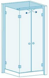 Угловое душевое ограждение из стекла с двумя дверцами Вариант 2-21